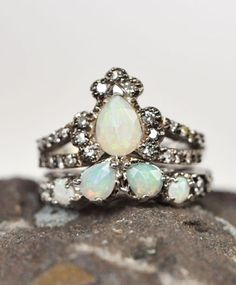 Opal Ritual Solitaire & Sacred Band by ManiaMania Fine