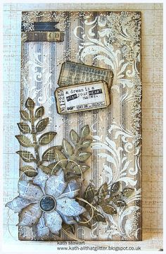 "Simon Says Stamp Monday Challenge - 20 June ""Use Patterned Papers""...Tim Holtz Dapper Stash Pad, Flourish Stencil from Mini Layering Set 10, Wendy Vecchi Crackled Texture Paste...Sizzix Tim Holtz Garden Greens and Tattered Poinsettia Dies, Idea-ology Dapper Design Tape and Fastener...Stampers Anonymous Odds & Ends, Prima Mini Art Stones"