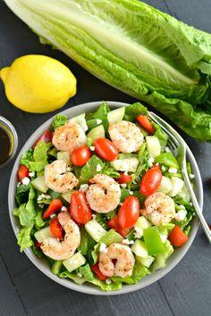 Summer Salads #salmon #peas #corn vegetables #salad #fruit #healthy #shrimp #chickpea #shrimp #citrus #lemon
