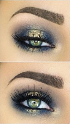 Blue and gold halo eyeshadow look. Give your look a beautiful shimmer and make your eyes pop with the halo technique