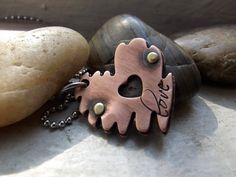 Locked heart pendant copper pendant by patsdesign on Etsy