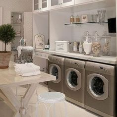 Need ideas for a unique laundry room? Here we have 30 of the best pictures of laundry rooms with decor and storage ideas. Things such as baskets, signs, rugs, cabinets, and more can really spruce up a laundry room. Laundry Room Organization, Laundry Storage, Laundry Room Design, Storage Room, Laundry Rooms, Storage Ideas, Laundry Area, Small Laundry, Shelf Ideas