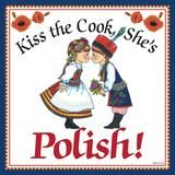 """This charming magnet tile will surely brighten up your kitchen. The unique artwork on this fridge magnet tile will make for an excellent unique Polish gift. This ceramic tile features the saying: """"Hap Poland Food, Poland Ww2, Warsaw Poland, Kiss The Cook, Presents For Him, Polish Recipes, Polish Pottery, Decorative Tile, My Heritage"""