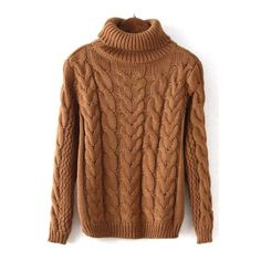 SheIn(sheinside) Khaki High Neck Cable Knit Crop Sweater ($23) ❤ liked on Polyvore featuring tops, sweaters, khaki, cropped sweater, loose crop top, crop top, brown turtleneck sweater and cable knit turtleneck sweater