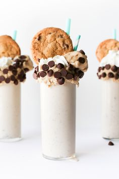 Chocolate Chip Cookie Dough Milkshake Recipe made with edible cookie dough in the shake and decorated with cookie dough, too! // Salty Canary