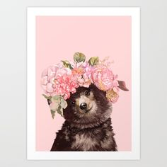 Baby Bear with Flowers Crown Canvas Print Bear Paintings, Acrylic Paintings, Bedroom For Girls Kids, Crown Art, Bee Tattoo, Woodland Animals, Cute Tattoos, Aesthetic Art, Flower Art