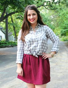 Gingham Shirt + Garnet Swingy Skirt | Fall Fashion Trends | #Spon #Kohls