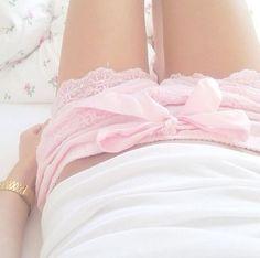Pink lace pajama shorts.