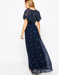 Frock and Frill | Frock and Frill Wrap Front Embellished Maxi Dress With Fluted Sleeve at ASOS