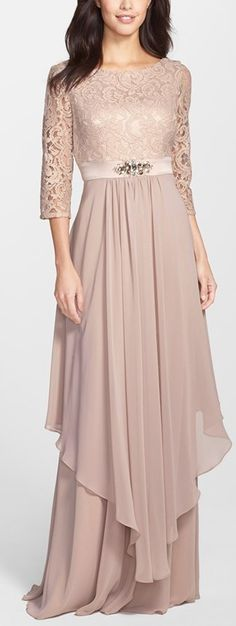 embellished lace & chiffon gown by Eliza J. An enchanting dusty-rose shade saturates this bateau-neck dress of corded lace and creamy chiffon. Trendy Dresses, Elegant Dresses, Beautiful Dresses, Fashion Dresses, Fashion Top, Fashion 2020, Modest Fashion, Beautiful Bride, Vintage Fashion