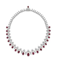 RUBY AND DIAMOND FRINGE NECKLACE The circular-cut diamond necklace suspending twenty-one pear-shaped graduated rubies, each with diamond spacers and marquise-cut diamond surmount, cm, mounted in gold. Ruby And Diamond Necklace, Ruby Necklace, Fringe Necklace, Ruby Jewelry, Diamond Hoop Earrings, Stone Necklace, Diamond Jewelry, Jewelery, Fine Jewelry