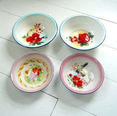 RESERVED for Kirsten Vintage Enamelware Painted Bowls - Set of 4 - Flower and Bird Designs