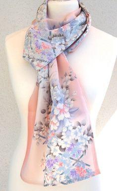 Pastel Silk Scarf Vintage Kimono Fabric Floral Silk by Schalrausch