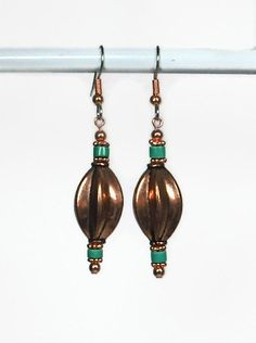 Turquoise and Copper Boho Earrings by AussenWolfDesigns on Etsy, $18.00