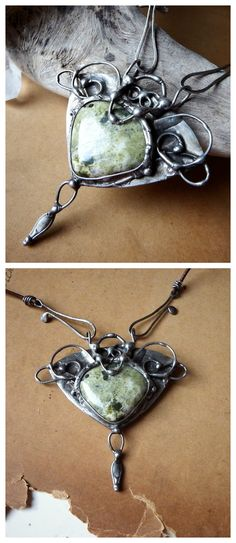 """Elven Song"" by Alice Savage. A beautiful, magical one of a kind necklace with Canadian Jasper. Shop at www.alicesavage.eu"