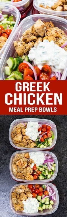 Chicken Bowls (Meal Prep Easy) Greek Chicken Meal Prep Bowls are the best! Marinaded chicken, cucumber salad, and tzatiki sauce.Greek Chicken Meal Prep Bowls are the best! Marinaded chicken, cucumber salad, and tzatiki sauce. Greek Marinated Chicken, Greek Chicken, Meal Prep Bowls, Easy Meal Prep, Chicken Meal Prep, Easy Chicken Recipes, Chicken Ideas, Easy Recipes, Salad Recipes Low Carb