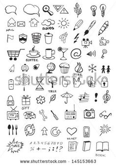 Find Set Various Hand Drawn Icons stock images in HD and millions of other royalty-free stock photos, illustrations and vectors in the Shutterstock collection. Mini Drawings, Doodle Drawings, Easy Drawings, Doodle Art, Simple Doodles, Cute Doodles, Bullet Journal Ideas Pages, Bullet Journal Inspiration, Planner Doodles