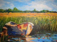 Boat in the Marshes by JoanNaylorStudio on Etsy, $245.00