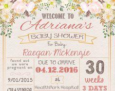 Garden Flowers, Shabby Chic Baby Shower Chalkboard Poster, Baby Shower sign, Pregnancy poster