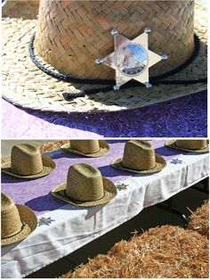 cowboy hat and sheriff party favors Horse Birthday Parties, Cowgirl Birthday, Cowgirl Party, Girl Horse Party, Horse Party Favors, Mary Birthday, Texas Party, Barn Parties, Cowboy Christmas
