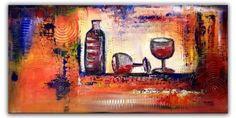 BURGSTALLER Struktur Gemälde Acryl 50x100 Bilder Stilleben Malerei Wein Gläser 4