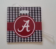 Alabama Crimson Tide Houndstooth Luggage Tag by SDdoodles on Etsy