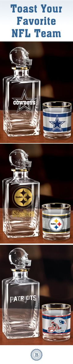 Toast your favorite NFL team! This officially-licensed barware set includes a crystal-clear decanter with a custom helmet topper and team logo, 4 team icon glasses rimmed in gleaming 12K gold and a satin-lined gift box.