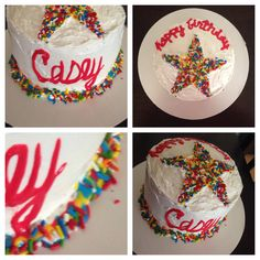 Birthday cake. Boy. Sprinkles. Funfetti. Star. Red blue yellow primary colors 2/2014