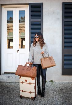 """haute off the rack, faux leather leggings, cable turtleneck sweater, tessa block heel booties, payless booties, black booties, bric's 21"""" carry on spinner, travel luggage, weekender bag, prada double bag, women's hangbag, women's fashion, holiday style, everyday style, travel outfit, brunette balayage hair"""