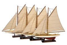 ATLANTIC ACCENTS  S/4 Mini Pond Yachts  AUTHENTIC MODELS USA  $170.00 Retail  $109.00
