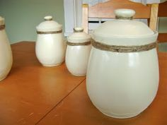 i had wanted to buy new kitchen canisters, but i'm just going to repaint my current ones with krylon spray paint!