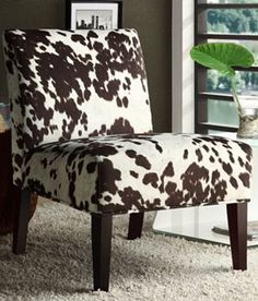 HomeVance Cowhide Print Accent Chair