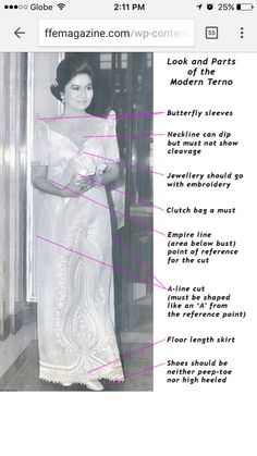The terno is a traditional Filipino one-piece long dress. It is known for its butterfly sleeves and is usually worn in formal occasions. Modern Filipiniana Gown, Filipiniana Wedding, Philippines Dress, Philippines Culture, Barong Tagalog For Women, Filipino Fashion, Philippine Fashion, Filipino Wedding, Filipino Culture