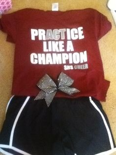 Perfect practice outfit for Josi Football Cheer, Cheer Camp, Cheer Coaches, Cheer Dance, Funny Volleyball Shirts, Cheerleading Shirts, Cheerleading Stunting, Softball Pics, Dance Team Shirts