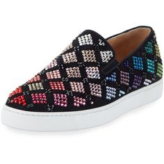 Christian Louboutin Arlettenbato Embellished Suede Sneaker, Black ($1,995) ❤ liked on Polyvore featuring shoes, sneakers, christian louboutin, suede leather shoes, black trainers, christian louboutin sneakers and suede sneakers