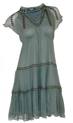 Blue Tassel Clothing Silk Prairie dress at Styles2you.com