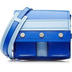 Kenzo Leather Shoulder Bag ($505) ❤ liked on Polyvore featuring bags, handbags, shoulder bags, bolsas, blue, genuine leather purse, blue leather handbag, blue purse, shoulder strap bag and shoulder strap handbags