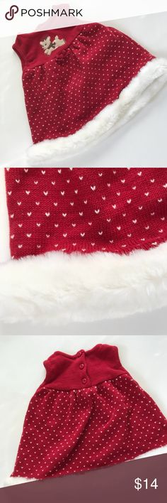 Gymboree reindeer Xmas knit baby dress 6-12 mo Cute baby girl Christmas sleeveless sweater dress with embroidered white hearts and white faux fur trim Gently used condition. No holes. No stains. 100% cotton. Gymboree Dresses