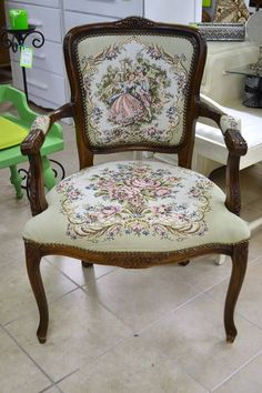 """Carved Wood Bergere Style Parlour Chair with Lovely Needlepoint Upholstery and Neailhead Trim - 24"""" W x 19.5"""" D x 34"""" H x 16"""" Seat"""