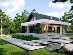 DOM.PL™ - Projekt domu CPT HomeKoncept-66 A CE - DOM CP4-93 - gotowy koszt budowy Modern Bungalow House, Modern House Design, 100 M2, Passive House, Cabin Design, Japanese House, House 2, Architecture Design, House Plans