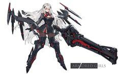 kishiyo long hair mechagirl original pantyhose red eyes weapon white white hair wallpaper background