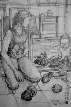 Yaramaz cocuk anne mutfak imgesel cizimi gsf hazirlik.