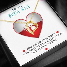 To My Nurse Wife - Forever Love Heart Pendant Personalized Buttons, Personalized Jewelry, Love Necklace, Heart Pendant Necklace, Life Touch, Gifts For Fiance, Message Card, Forever Love, Love Heart