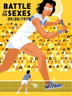 """Kali Ciesemier: 'I drew the Battle of the Sexes–the epic men-vs-women tennis battle between Bobby Riggs and Billy Jean King, for """"Transcend: Moments in Sports that Changed the Game"""" on the Bleacher Report.'"""