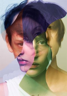 each layer/cutout is a different tone, depends on the blend modes?: Self composite portrait// I like how the artist has used different colours for each section, maybe something i should consider Photomontage, Photoshop, Creative Photography, Portrait Photography, Distortion Photography, Photography Collage, Artistic Photography, Poster Xxl, Foto Portrait