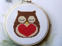 Cross Stitch PDF Pattern Owl And Heart Valentine | Luulla by petitedress