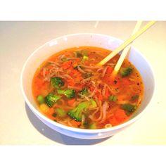 Soba noodles w/ shrimp & veggies in miso soup
