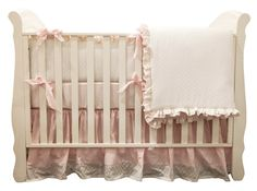 beautiful pink crib set