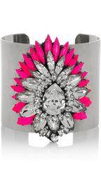 ShouroukYildiz sterling silver crystal cuff