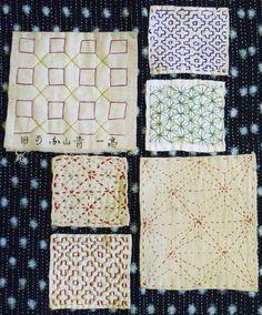 folk embroidery tutorial A gtoup of sashiko practice pieces, probably from the or so. Sashiko Embroidery, Folk Embroidery, Learn Embroidery, Japanese Embroidery, Embroidery Stitches, Embroidery Designs, Shibori, Japanese Textiles, Japanese Fabric